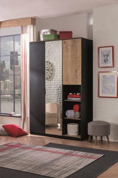 Kleiderschrank mit Spiegel BLACK, 3-trg.