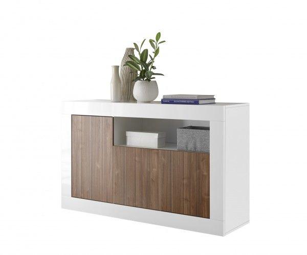 Sideboard/ TV-Möbel LEONELLO, Weiß-Nussbaum