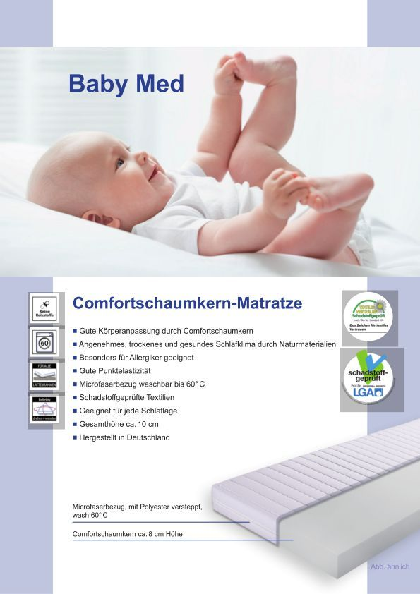 baby med comfortschaumkern matratze gesamth he ca 10 cm matratzen baby kind jugend. Black Bedroom Furniture Sets. Home Design Ideas