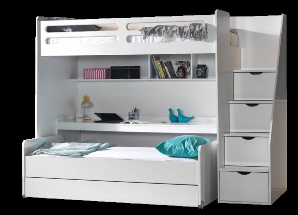 Etagenbett SMART mit Schreibtisch und Treppe, 3 Farben