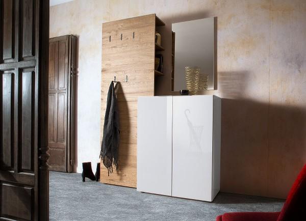 Garderoben-Set VICENZA, 3-tlg.,Eiche - Hochglanz weiß
