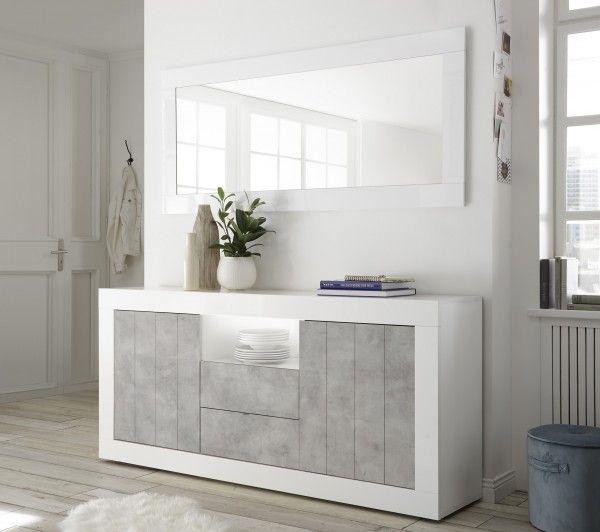 Sideboard LEONELLO mit Schubladen, Weiß-Beton-Optik