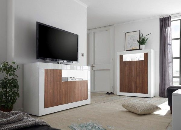 Wohnzimmer LEONELLO mit LED, Weiß-Nussbaum