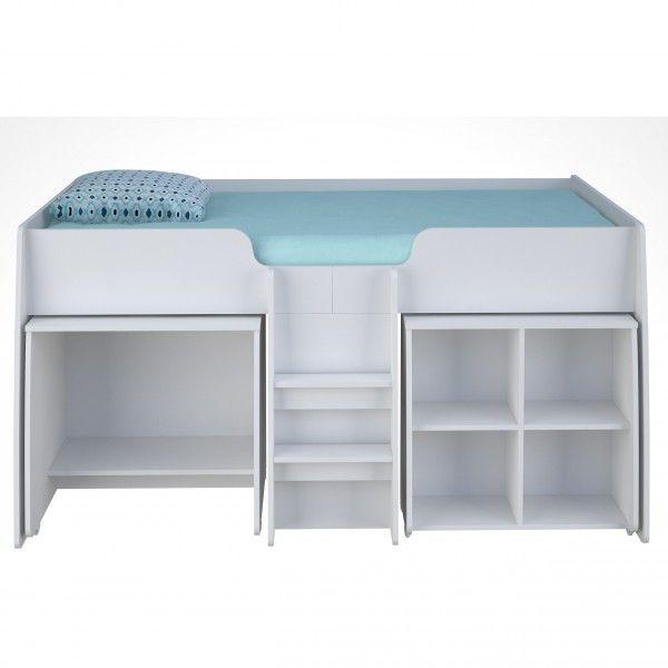 Hochbett FINN mit integriertem Tisch und Regal