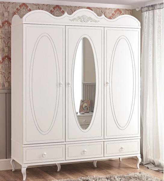 Kleiderschrank PERLINA mit Spiegel, 3-türig