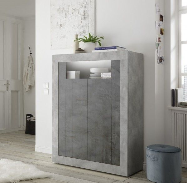 Highboard LEONELLO mit LED, Beton-Optik-Ossido