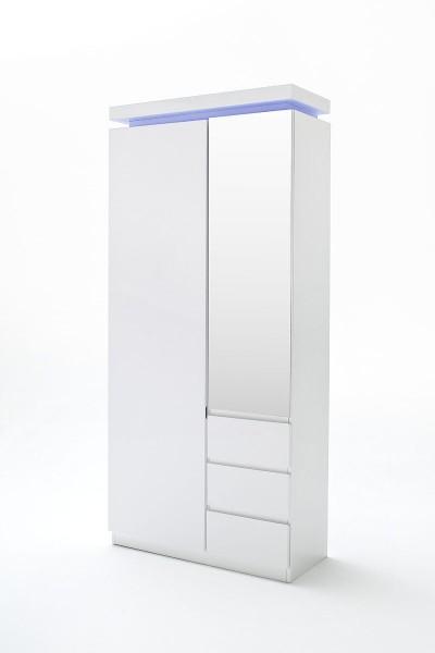 Garderobenschrank OCEAN, Hochglanz, inkl. LED-Beleuchtung