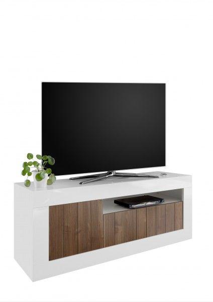 TV-Lowboard LEONELLO, Weiß-Nussbaum