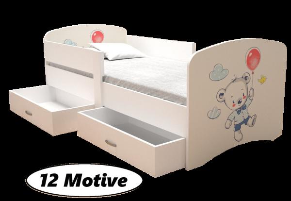 Kinderbett MIKY mit Bettkasten, 12 Motive