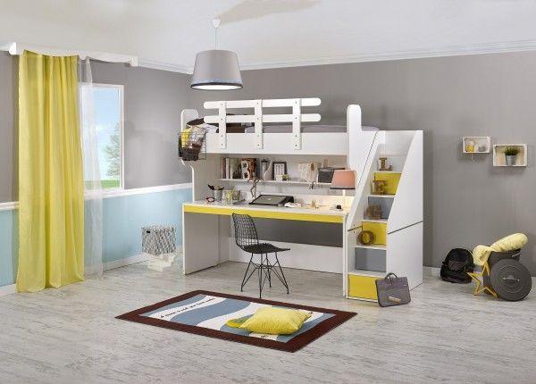 Hochbett PUZZLE mit Schreibtisch, gelb