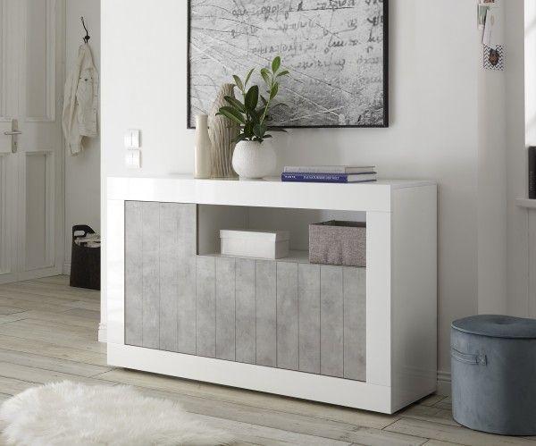 Sideboard/ TV-Möbel LEONELLO, Weiß-Beton-Optik