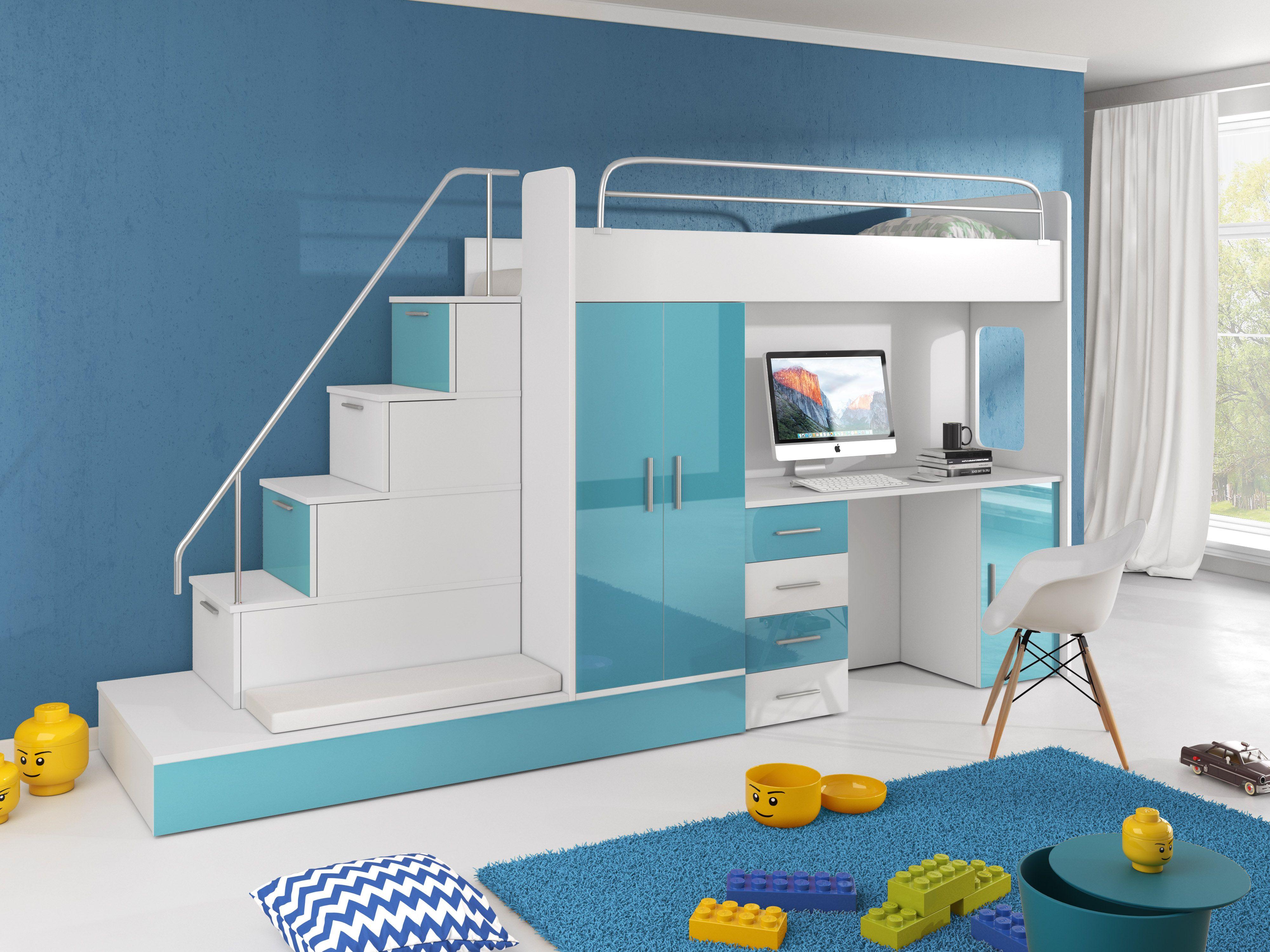 Etagenbett Julien : Paradise hochbett 5 azurblau 80x200cm möbel zeit