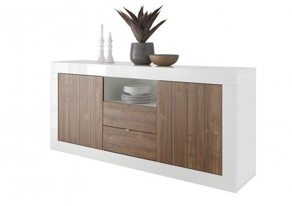 Sideboard LEONELLO mit Schubladen, Weiß-Nussbaum
