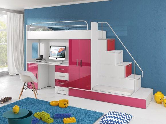 Etagenbett Pink : Vorhang set pink rosa hochbett etagenbett stoffset tlg