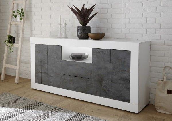 Sideboard LEONELLO mit Schubladen, Weiß-Ossido