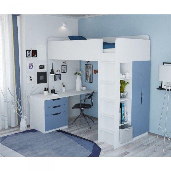 Hochbett ATLANTA mit Kleiderschrank und Schreibtisch, 6 Farben
