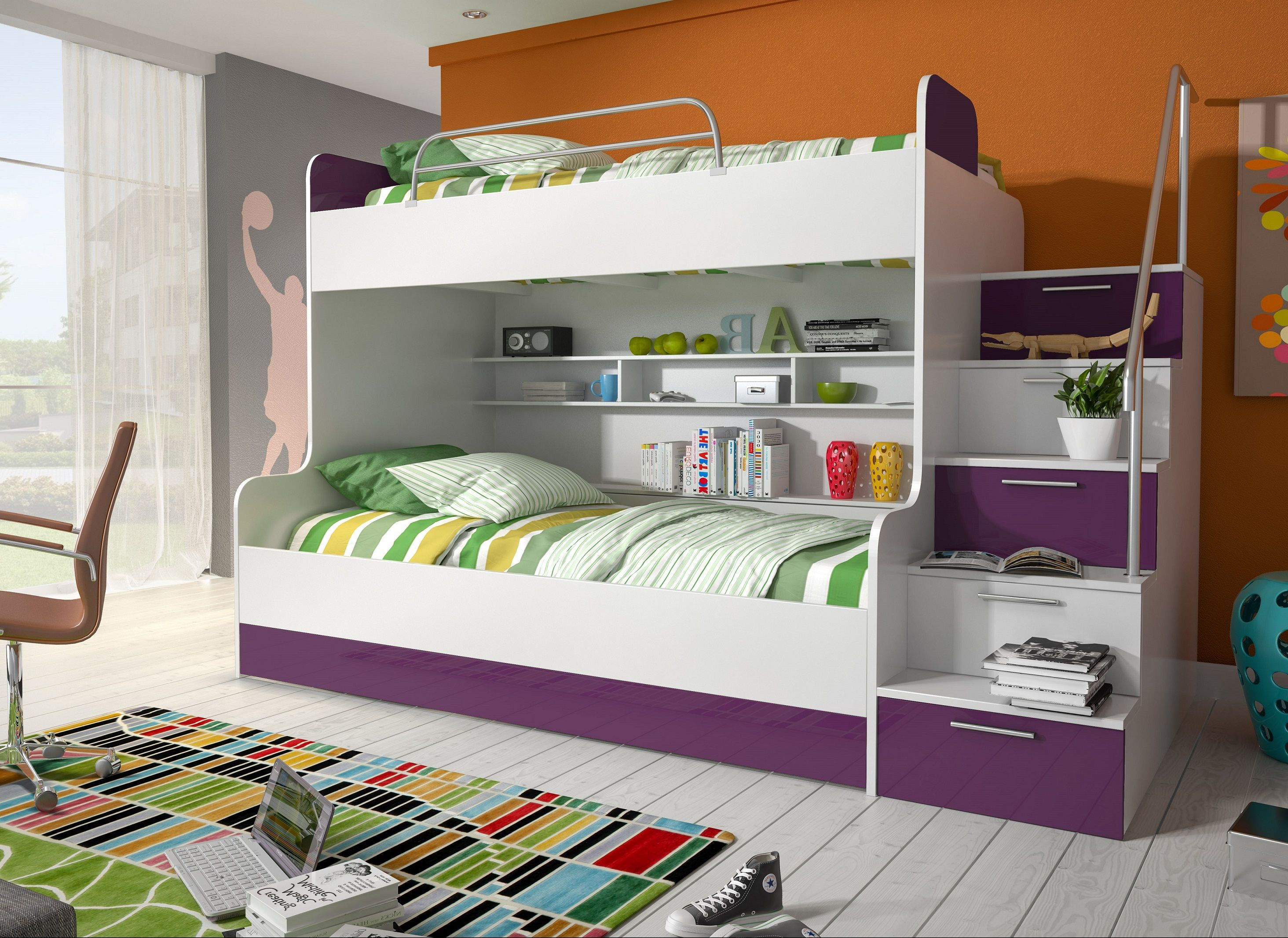 etagenbett kinderbett lila mit seitlicher treppe rechts m bel zeit. Black Bedroom Furniture Sets. Home Design Ideas