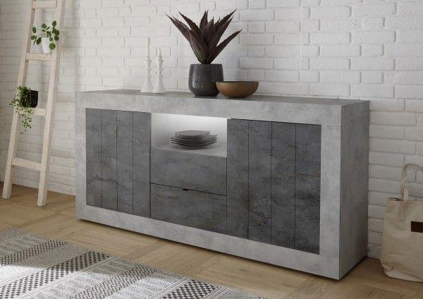 Sideboard LEONELLO mit Schubladen, Beton-Optik-Ossido
