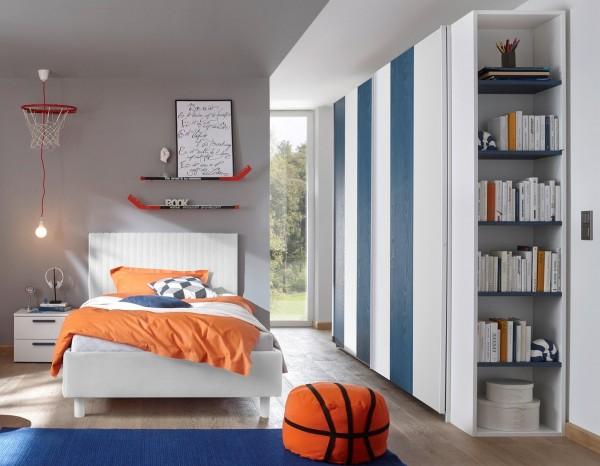 Schlafzimmer FRELI weiß/ blau, inkl. Regal