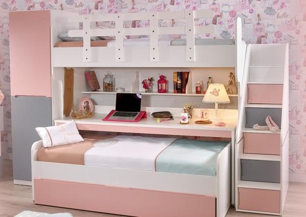 Etagenbett PUZZLE mit langem Schreibtisch