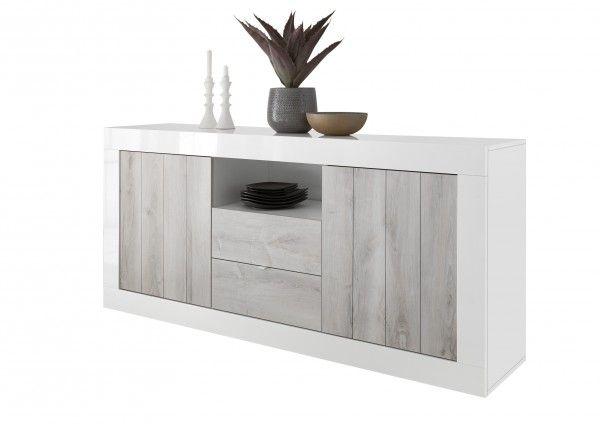 Sideboard LEONELLO mit Schubladen, Pinie Weiß