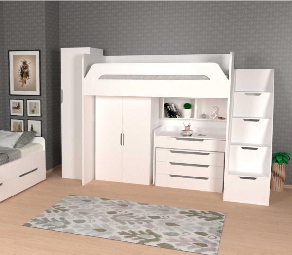 Hochbett WINDFALL mit Kleiderschrank und Schreibtisch