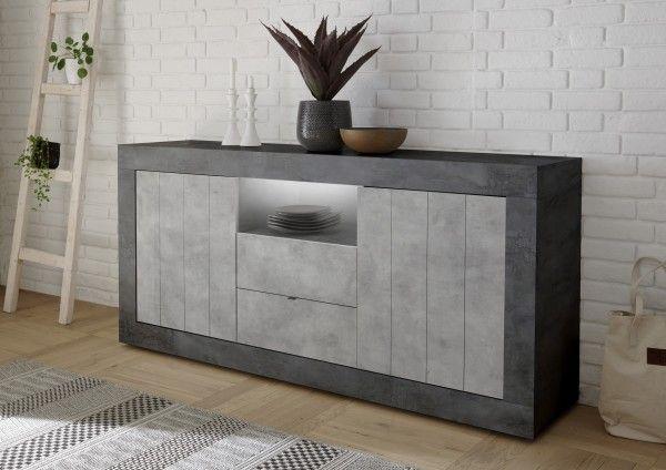 Sideboard LEONELLO mit Schubladen, Ossido-Beton-Optik