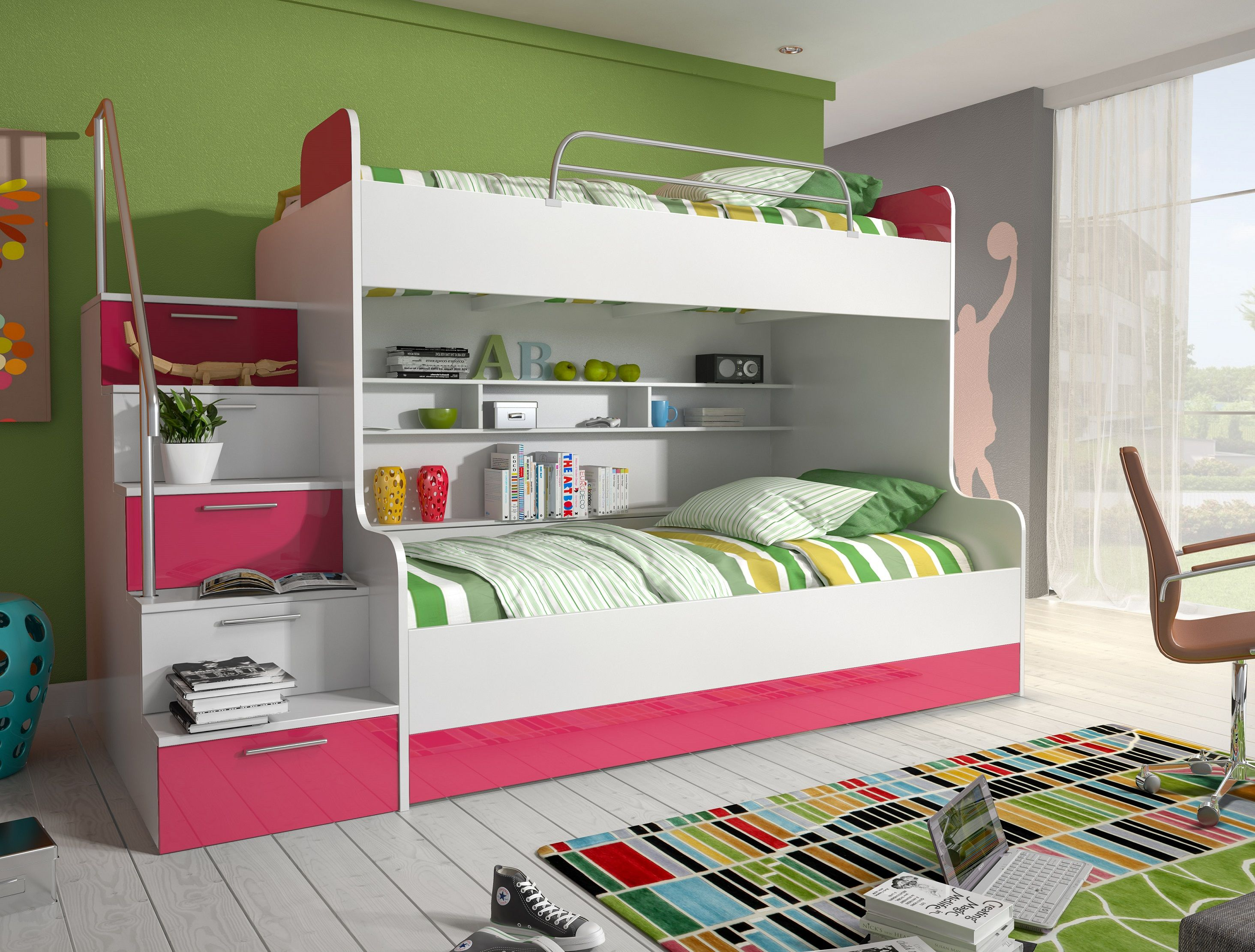 etagenbett kinderbett rose mit seitlicher treppe links. Black Bedroom Furniture Sets. Home Design Ideas