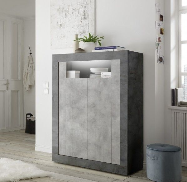 Highboard LEONELLO mit LED, Ossido-Beton-Optik