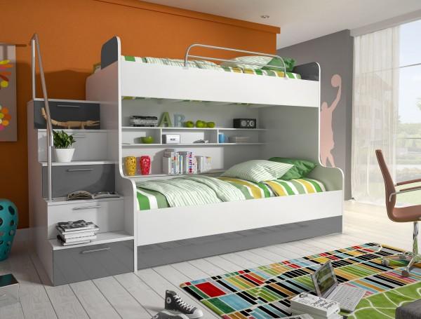 Etagenbett Kinderbett Beto mit setlicher Treppe links in Weiß - Grau