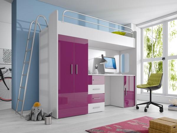 Etagenbett Luca : Paradise hochbett 4d violett 80x200cm möbel zeit