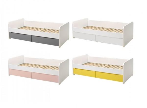 Bett PUZZLE inkl. Lattenrost und Bettkasten, 90x190 cm.